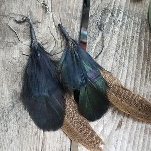 Boho Animal Print Feather Earrings Handmade